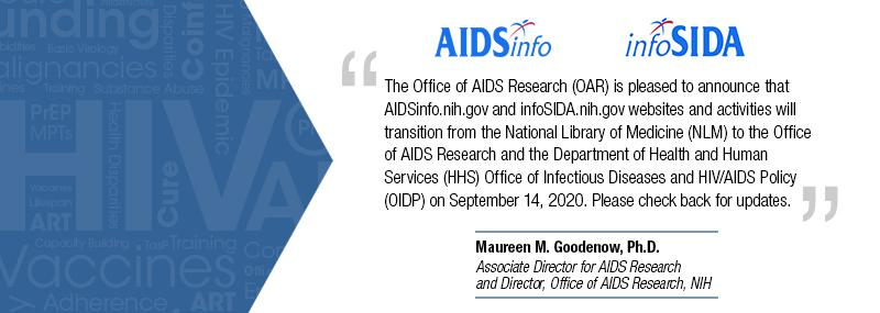 AIDSinfo and infoSIDA Transitioning to Office of AIDS Research (OAR)